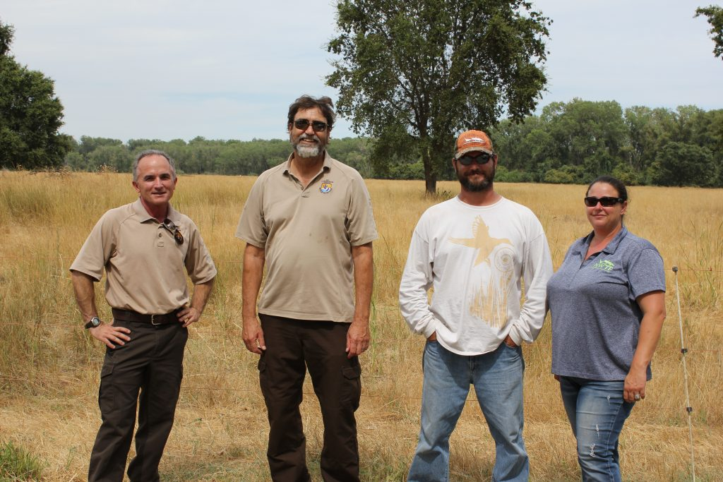 From Left: Former Sac River NWR Manager Kelly Moroney, Current Sac River NWR Manager Joe Silveira, Former SoCal RD Doug Abfalter,  NorCal RD Jolene Begley.